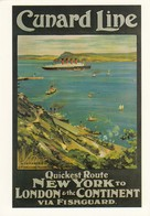 Postcard Advertising Cunard Line Pictured In Fishguard Harbour [ Reproduction ] My Ref  B23672 - Advertising