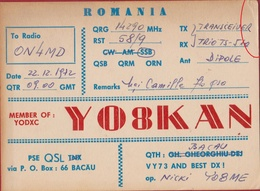 QSL Card Amateur Radio Funkkarte Romania Roemenie 1972 YO8KAN Bacau - Radio Amateur