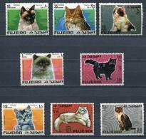 Fujeira 1967 Mi # 206 A - 213 A FAUNA ANIMAL CATS Stamp Set MNH - Fujeira