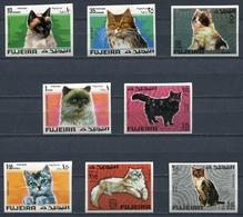 Fujeira 1967 Mi # 206 B - 213 B FAUNA ANIMAL CATS Stamp Set MNH - Fujeira