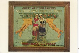 Postcard Advertising Great Western Railway [ Plaque ] Comparing Cornwall To Italy  [ Reproduction ] My Ref  B23674 - Advertising