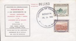 Chile Ersttags Brief FDC Cover 1956 Ministerio De Comunicaciones Cafe Tabaco Algodon - Chile