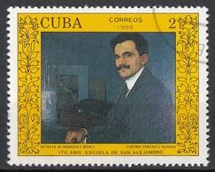 """Cuba 1988 Sc. 2995 """"Ritratto Di Rodriguez Morey""""  Quadro Dipinto Da E.G. Olivera Paintings Tableaux  CTO - Moderni"""