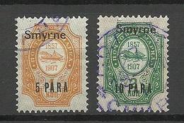 RUSSLAND RUSSIA 1909/10 Levant Levante SMYRNE Michel 39 - 40 XII O - Turkish Empire