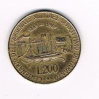 //  ITALIE  200 LIRE  TARANTO  NAVAL  YARDS  1989 - 1946-… : République