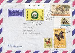 Tanzania NDANDA LINDI 1981 Cover Brief BÖTTINGEN Serengeti Giraffe Butterfly Schmetterling Papillon - Tansania (1964-...)