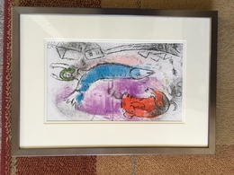 Marc Chagall - Original Colour Lithograph - 1957 Blue Fish & Certificate Of Authenticity - Lithografieën