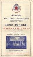 Souscription Croix-Rouge Luxembourgeoise Loterie Sweepstake Grand Prix De La Ville De Nice 1935 - Lottery Tickets
