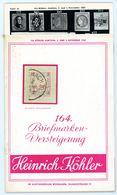 164. Köhler Briefmarken Auktion 1960 - Auktionskatalog Mit Den Bildtafeln - Auktionskataloge