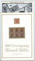 169. Köhler Briefmarken Auktion 1962 - Auktionskatalog Mit Den Bildtafeln - Auktionskataloge