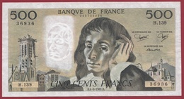 """500 Francs """"Pascal"""" Du 04/06/1981.B ----VF/SUP--ALPH.H.139 - 1962-1997 ''Francs''"""