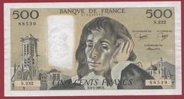 """500 Francs """"Pascal"""" Du 03/04/1985.H ----XF/SUP+--ALPH.S.232--3 TROU D EPINGLE - 1962-1997 ''Francs''"""