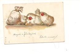 P118 UMORISTICA AUGURALI SACCO SOLDI 1902 VIAGGIATA ILLUSTRATORE - Humor
