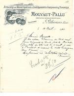 Lettre 1910 / 45 PITHIVIERS / MOLVAUT-PALLU / Construction Instruments Agricoles & Fonderie - France
