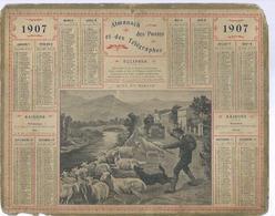 ALMANACH DES POSTES  1907 ( CALENDRIER ) ( AUTO ET BERGER - Déssin: BESNOU ) MOUTONS - Grand Format : 1901-20