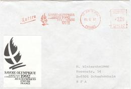 FRANCE Olympic Cover With Metercancel Albertville Candidature 1992  78 Jouy En Josas - Hiver 1992: Albertville