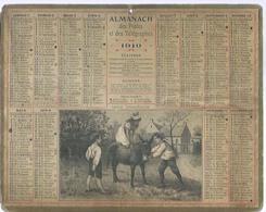 ALMANACH DES POSTES  1910 ( CALENDRIER ) ( LECON D'EQUITATIONS - Déssin: BESNOU ) ANE - Calendriers