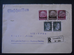 WW II - R-Brief MF Lothringen Mi.8, Luxemburg Mi.8, Elsass Mi.6 U. DR Mi. 781 Im Paar Auf Sammler Brief (63) - Germany
