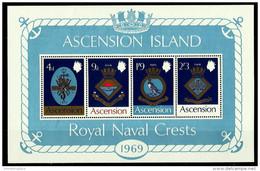 Ascension - 1969 Royal Naval Crests (series 1) S/sheet MNH **     SG MS125    Sc 129a - Ascension (Ile De L')
