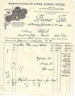 Lot De 2 Factures 1932-33 / 42 LE CHAMBON-FEUGEROLLES / DAVIER Fils / Manufacture De Limes, Aciers, Outils - France