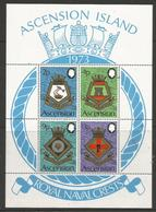 Ascension - 1971 Naval Crests (series 3) S/sheet MNH **     SG MS153   Sc 155a - Ascension