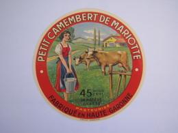 Etiquette De Fromage PETIT CAMEMBERT DE MARIOTTE Fabriqué En HAUTE-GARONNE 45% - Cheese