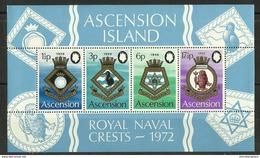 Ascension - 1972 Naval Crests (series 4) S/sheet MNH **     SG MS158   Sc 159a - Ascension