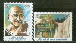 India 2019 Mahatma Gandhi Ahimsa Permo Dharma Nonviolence Religion 2v MNH - Mahatma Gandhi