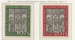 PIA - GER - 1951 : 7° Centenario Della Cattedrale Di Lubecca -   (Yv 25-26) - BRD
