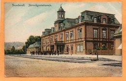 Sundsvall Railroad Station Sweden 1909 Postcard - Sweden
