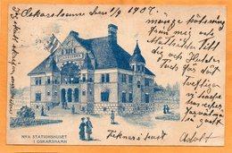 Oskarshamn Railroad Station Sweden 1907 Postcard - Sweden
