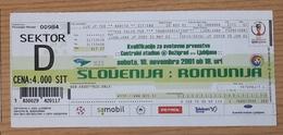 Football Ticket Slovenia : Romania 10.11.2001  Qualification World Cup 2002 - Tickets D'entrée