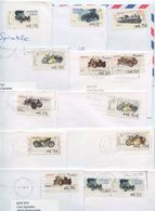 Spain 2000's 11 Covers To U.S., Mix Of Auto, Motorcycle, Train ATM Stamps - 1931-Today: 2nd Rep - ... Juan Carlos I