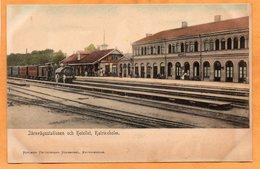 Karlineholm Katrineholm Railroad Station Sweden 1900 Postcard - Sweden
