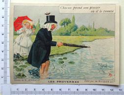 CHROMO ..LITH. GERBAULT....RICQLES...LES PROVERBES....PRENDRE SON PLAISIR...PÈCHE...RIVIÈRE - Trade Cards