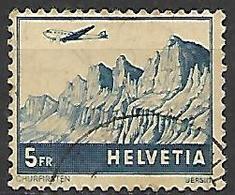 SUISSE   -    Poste Aérienne  -   1941  .  Y&T N° 34 Oblitéré.   Avion - Poste Aérienne