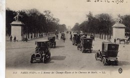 Paris - L'Avenue Des Champs-Elysées Et Les Chevaux De Marly - Taxi De Dion -  CPA - Taxi & Carrozzelle