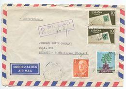 Spain 1966 Registered Airmail Cover Bilbao To Detroit, Michigan - 1931-Today: 2nd Rep - ... Juan Carlos I