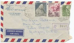 Spain 1964 Registered Airmail Cover Palma De Mallorca - Hotel Saratoga To U.S. - 1961-70 Lettres