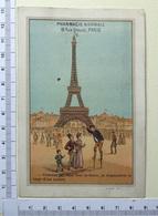 CHROMO ..LITH.SICARD...PARIS...PHARMACIE NORMALE...TOUR EIFFEL...TOURISTES ...ÉCHASSES - Trade Cards