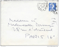 CACHET POSTE FERROVIAIRE  - BOURG ST MAURICE A CHAMBERY  -  1958 - Railway Post