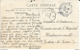 INDRE ET LOIRE  37 - TOURS -  FERROVIAIRE N° 224 TYPE 2 R - ANGERS A TOURS + RD 84/3 CHATEAURENAULT - Railway Post
