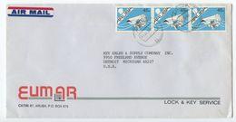 Aruba 1992 Airmail Cover To U.S., Scott 7 Shell, Strip Of 3 - Curacao, Netherlands Antilles, Aruba