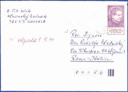 Cover - Slovakia To Roma, Itália - Postmark - Hronsky Beñadik - Slowakije