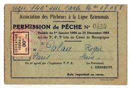 PERMIS DE PÊCHE 1954 Association Des Pêcheurs à La Ligne Brienonais Canal De Bourgogne Vignette Cotisation Federale - Non Classés