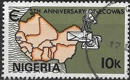 NIGERIA 1980 5th Anniversary Of Economic Community Of West African States - 10k. Communication Symbols & Map FU - Nigeria (1961-...)