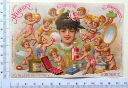 RARE CHROMO ..LITH.GILBERT CLAREY...BORDEAUX....HUBERT COIFFEUR....LES ANGES FONT LA TOILETTE - Trade Cards