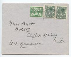Netherlands 1940's Cover Scheveningen To Clifton Springs, New York - Period 1891-1948 (Wilhelmina)