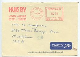 Netherlands 1999 Priority Cover Wassenaar To U.S., Hasler Meter - Period 1980-... (Beatrix)