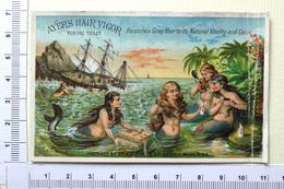 CHROMO..U.S.A.....VICTORIAN TRADE CARD.....AYERS HAIR VIGOR...DÉPÔT A YPRES BELGIQUE..  SIRÈNES ....NAUFRAGE D'UN BATEAU - Trade Cards